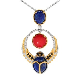 Michael Valitutti Palladium Silver Cleopatra Lapis & Red Coral Scarab Beetle Pendant