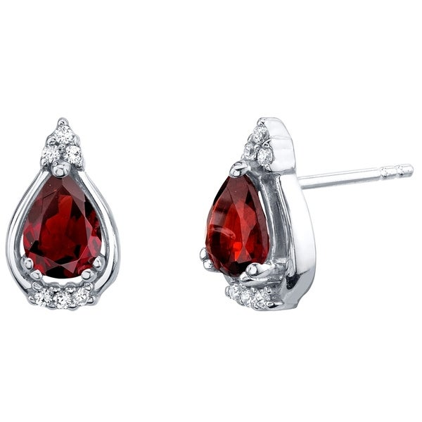 Garnet Sterling Silver Empress Stud Earrings 1 50 Carats Total
