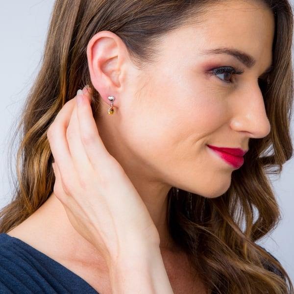 Genuine Citrine Heart Drop Earrings on Leverbacks