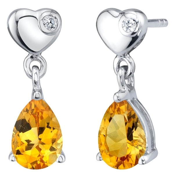 1c53ed7be Shop Citrine Sterling Silver Heart Dangle Drop Earrings 1.25 Carats Total - Free  Shipping Today - Overstock - 21585332