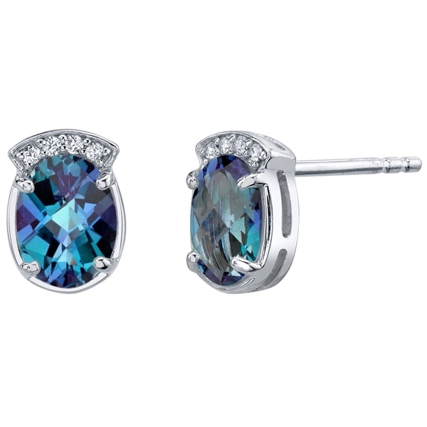 2f42ba392 Shop Simulated Alexandrite Sterling Silver Aura Stud Earrings 3.25 Carats  Total - On Sale - Free Shipping On Orders Over $45 - Overstock - 21585343