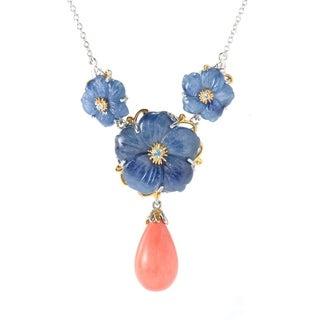 Michael Valitutti Palladium Silver Kyanite Flower & Salmon Coral Drop Necklace