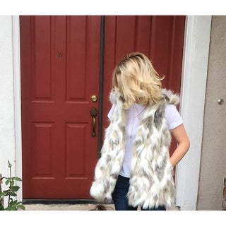 Jaeani Grace Luxury Women Vest Ivory Tibet Fox Faux Fur