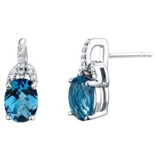 London Blue Topaz Sterling Silver Pirouette Drop Earrings 3.00 Carats Total