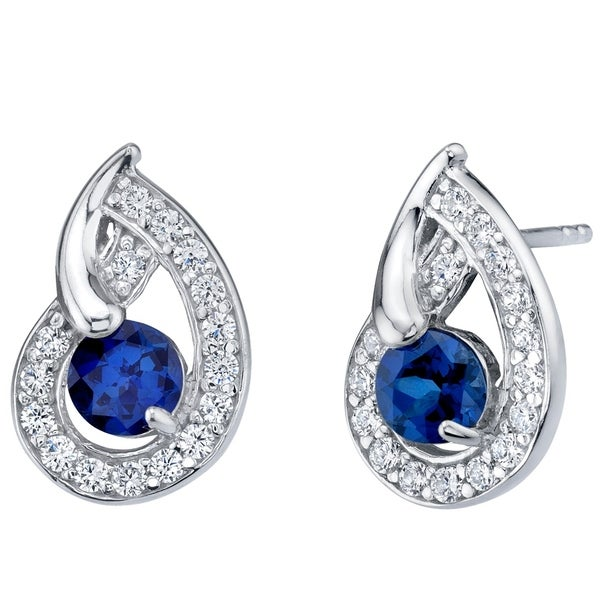 04d6833cd Shop Created Blue Sapphire Sterling Silver Nautilus Stud Earrings 1.25  Carats Total - On Sale - Free Shipping Today - Overstock - 21585460