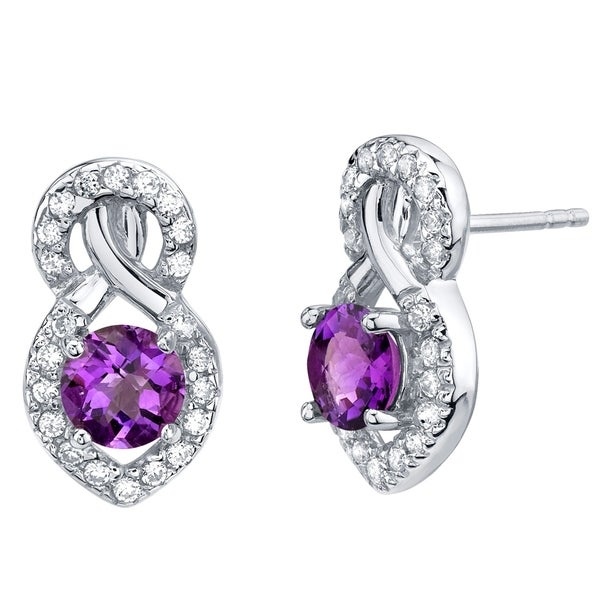 Amethyst Sterling Silver Crossover Stud Earrings 1 50 Carats Total