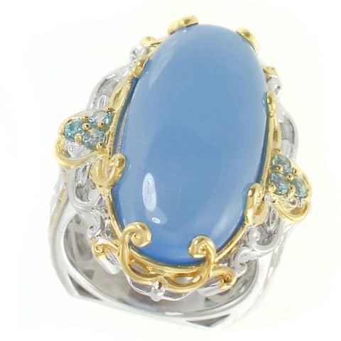 Gems en Vogue Palladium Silver Blue Chalcedony & Swiss Blue Topaz Elongated Ring