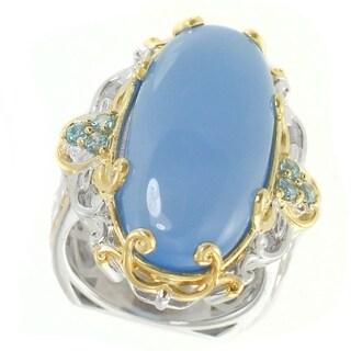 Michael Valitutti Palladium Silver Blue Chalcedony & Swiss Blue Topaz Elongated Ring