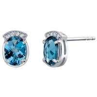 343aebe12 London Blue Topaz Sterling Silver Aura Stud Earrings 2.75 Carats Total
