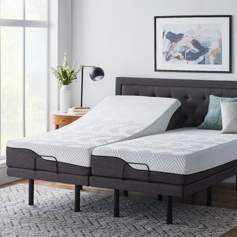 LUCID Comfort Collection 10 Inch Split King Size Memory Foam Hybrid Mattress With L300 Adjustable