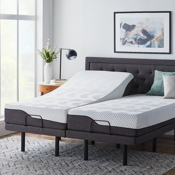 LUCID Comfort Collection 10-inch Split King Size Memory Foam Hybrid Mattress with L300 Adjustable Base