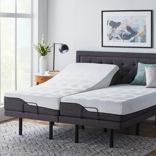 LUCID 10-inch Split King Size Memory Foam Hybrid Mattress with L300 Adjustable Base