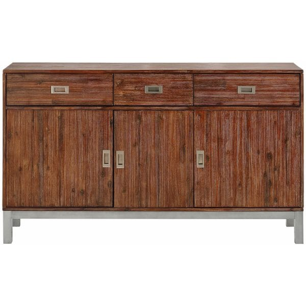 Congo Acacia Wood and Metal Sideboard with 3 Doors and 3 Drawers