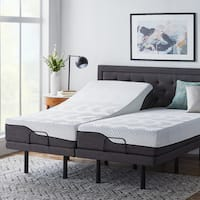 LUCID 12-inch Split King Size Memory Foam Hybrid Mattress with L300 Adjustable Base