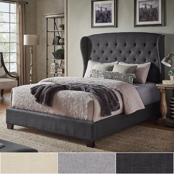 4eebc18c5841 Vivianne Tufted Linen Wingback Bed with Nailhead Trim by iNSPIRE Q Classic