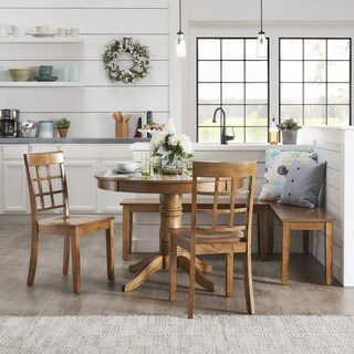 Wilmington II Round Pedestal Base Oak Finish Breakfast Nook Set by iNSPIRE Q Classic