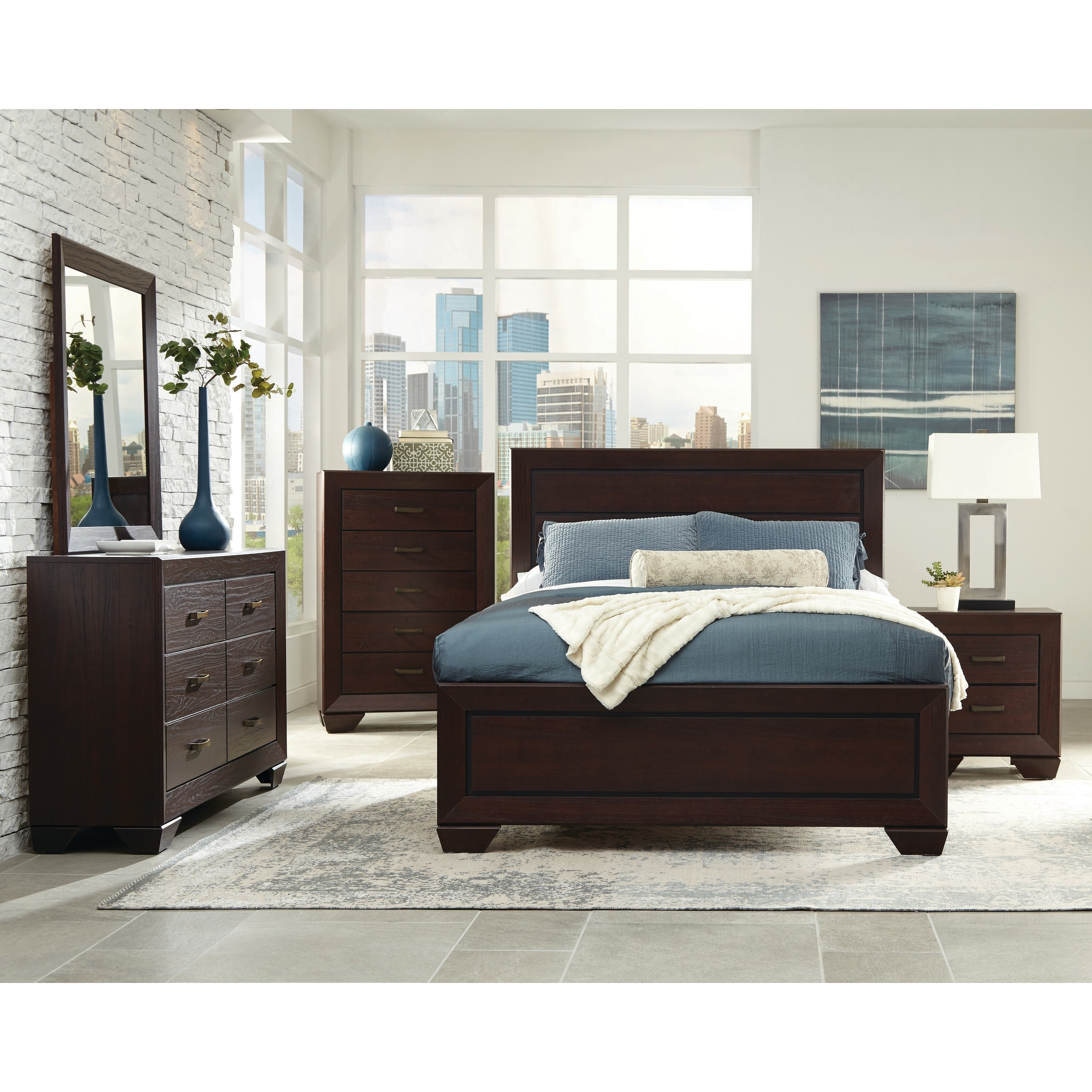 Strick & Bolton Dulah Dark Cocoa 4-piece Bedroom Set with Storage Bed