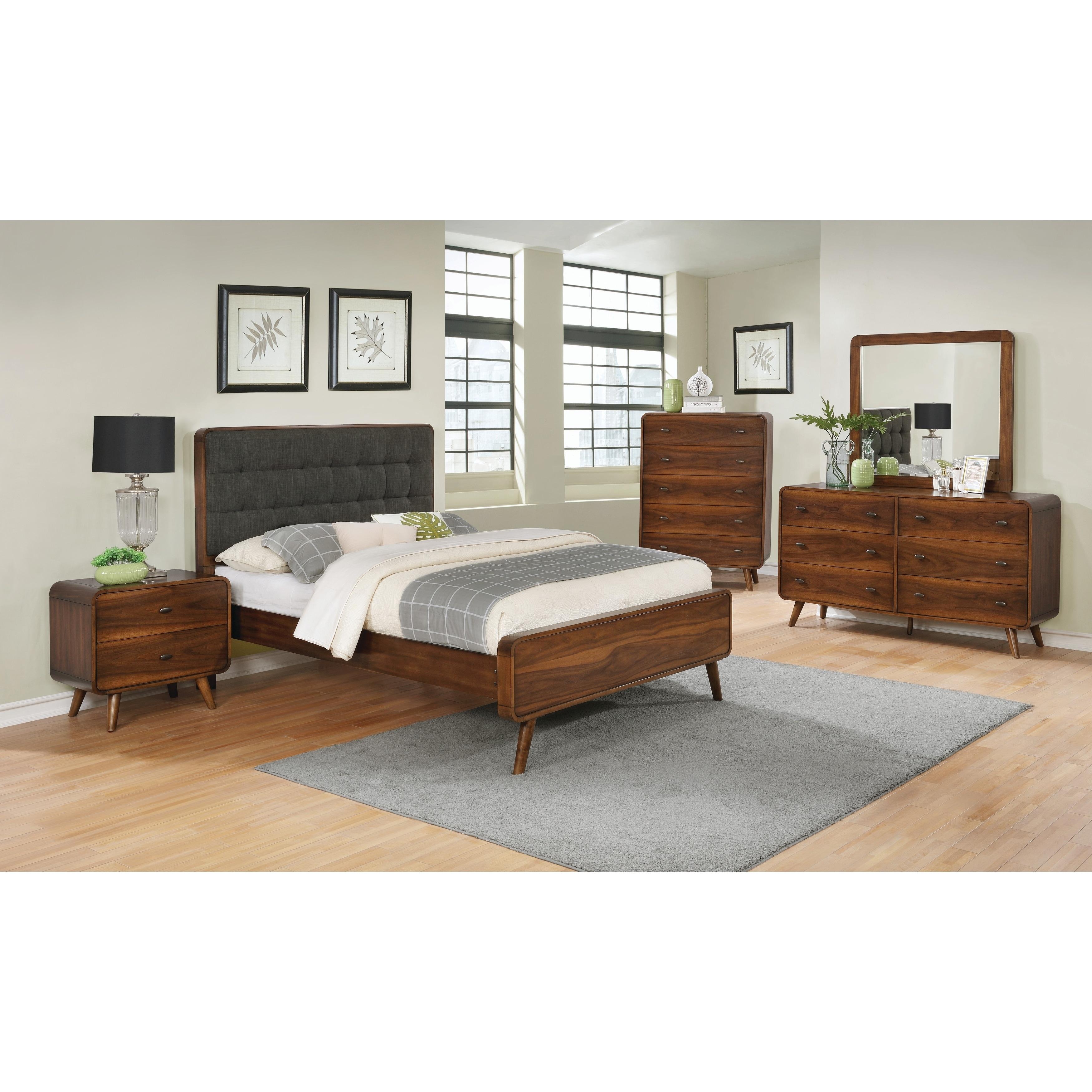 Robyn Mid-century Modern Dark Walnut 4-piece Bedroom Set