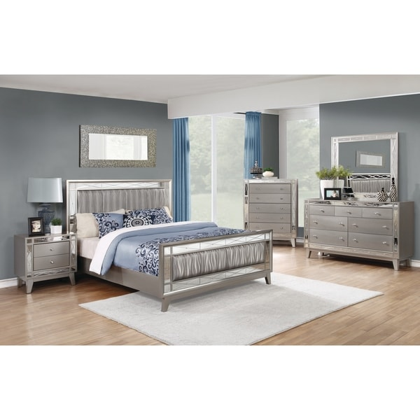 Silver Orchid Barriscale Contemporary Metallic 5 Piece Bedroom Set by Silver Orchid