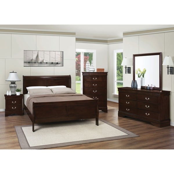 Beau Louis Philippe Warm Brown 4 Piece Bedroom Set