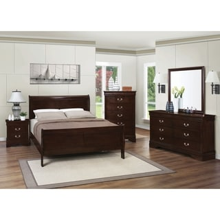 Awesome Louis Philippe Warm Brown 4 Piece Bedroom Set