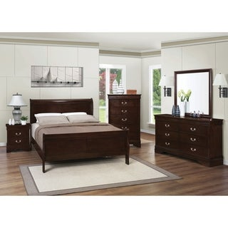 Louis Philippe Traditional Warm Brown 5 Piece Bedroom Set