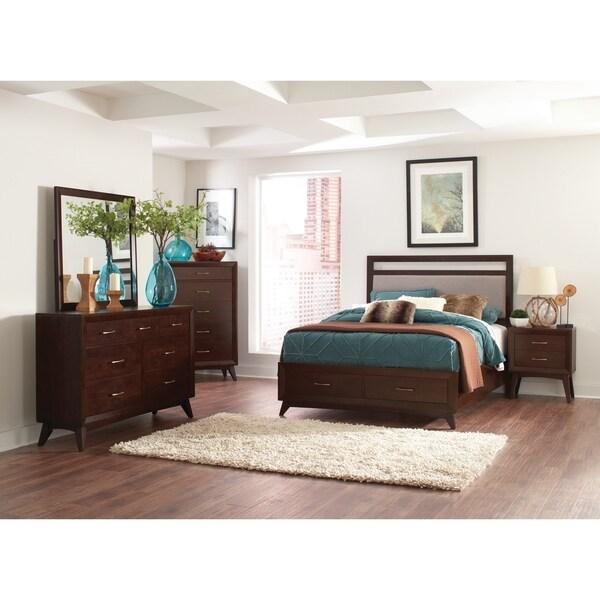Carrington Mid Century Modern Coffee 5 Piece Bedroom Set