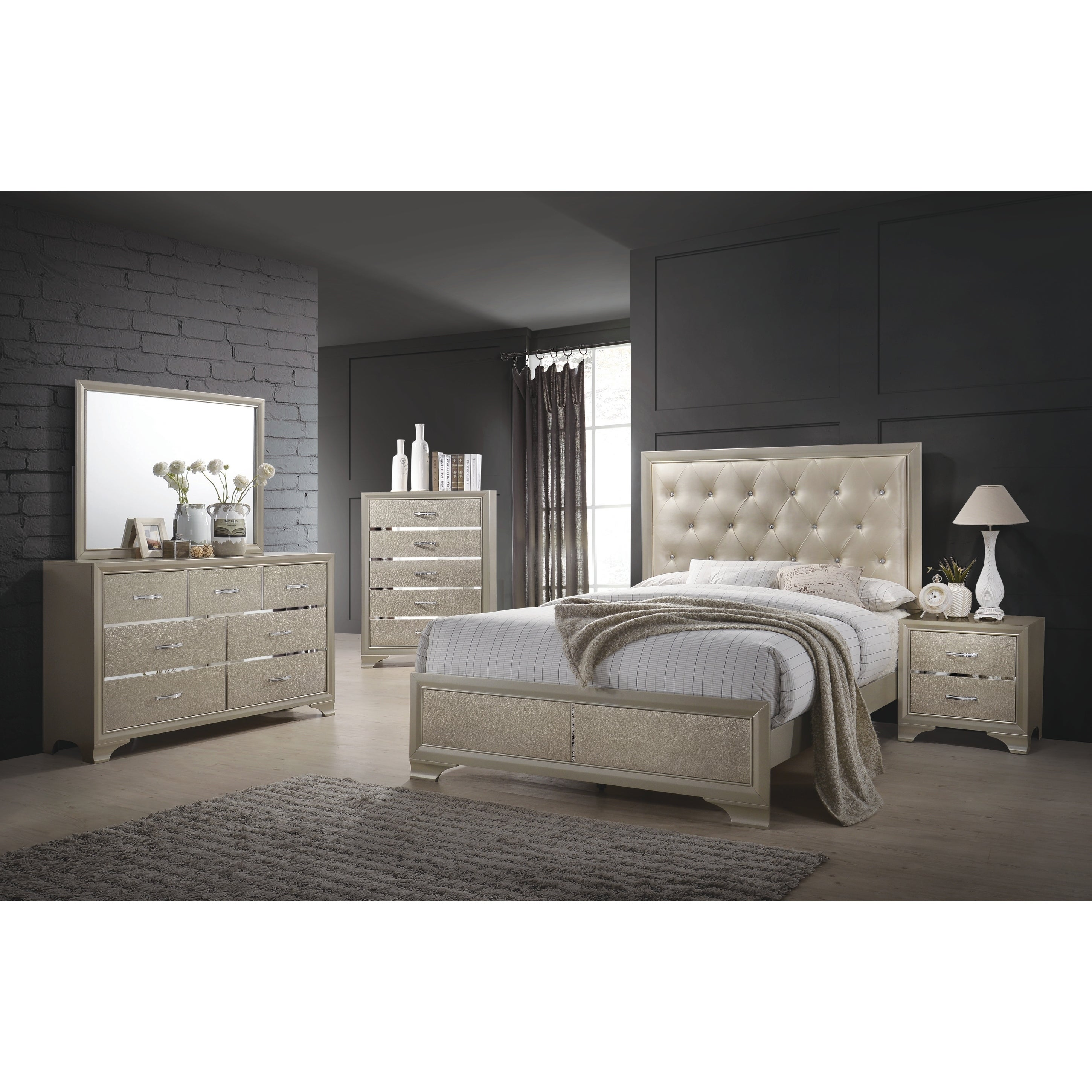Silver Orchid Beaumont Transitional Champagne 5-piece Bedroom Set