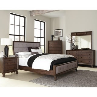Bingham Retro-modern Brown 4-piece Upholstered Bedroom Set