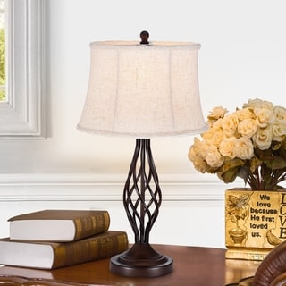 Link to Nazario Antique Bronze 1-Light Table Lamp with Fabric Shade Similar Items in Table Lamps