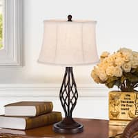Nazario Antique Bronze 1-Light Table Lamp with Fabric Shade