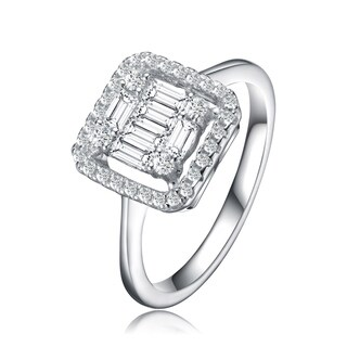 Collette Z Sterling Silver Square Shaped Cubic Zirconia Ring