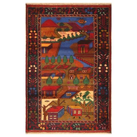 Handmade One-of-a-Kind Wool War Rug (Afghanistan) - 3' x 4'5