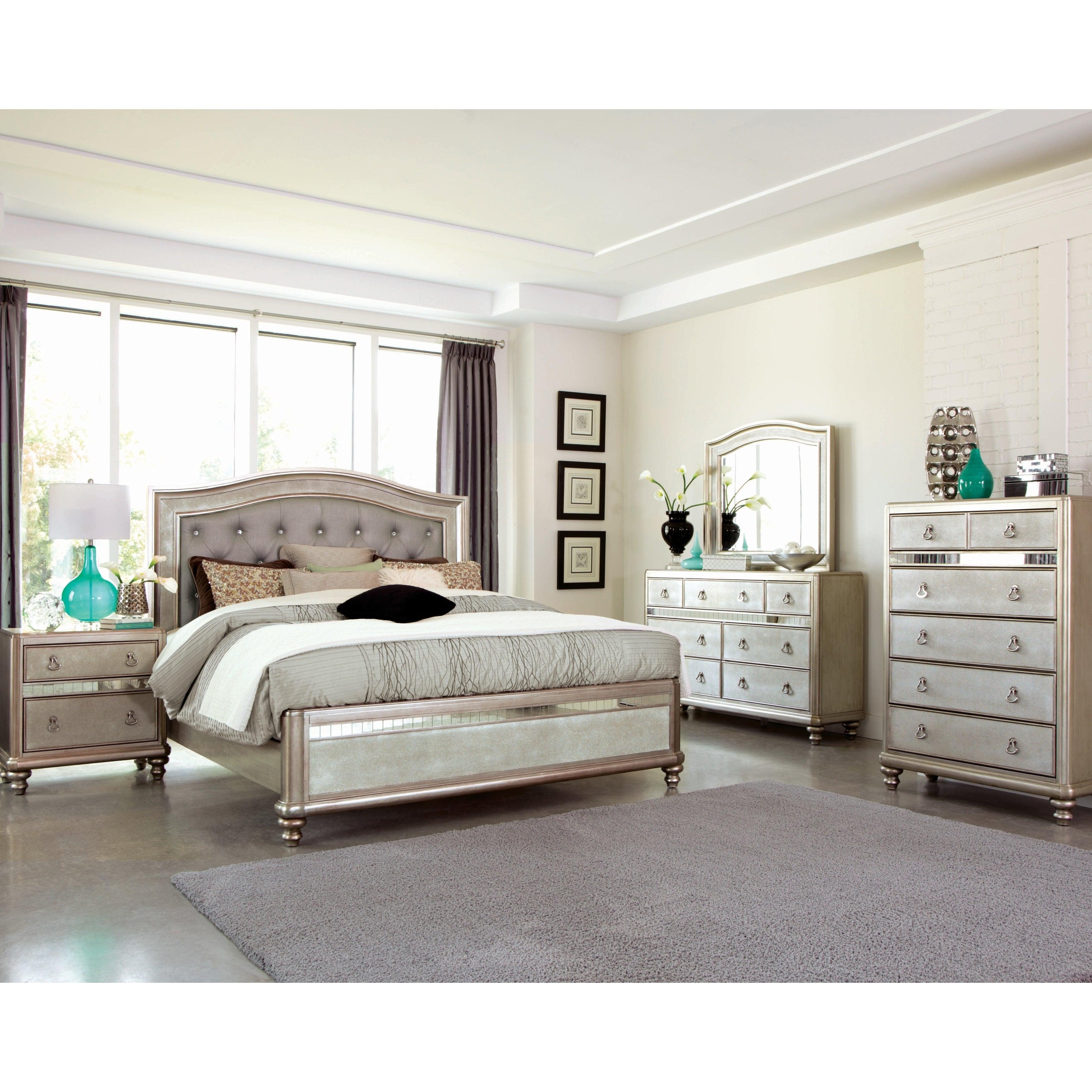 Silver Orchid Arcaro Metallic Platinum 5 Piece Bedroom Set