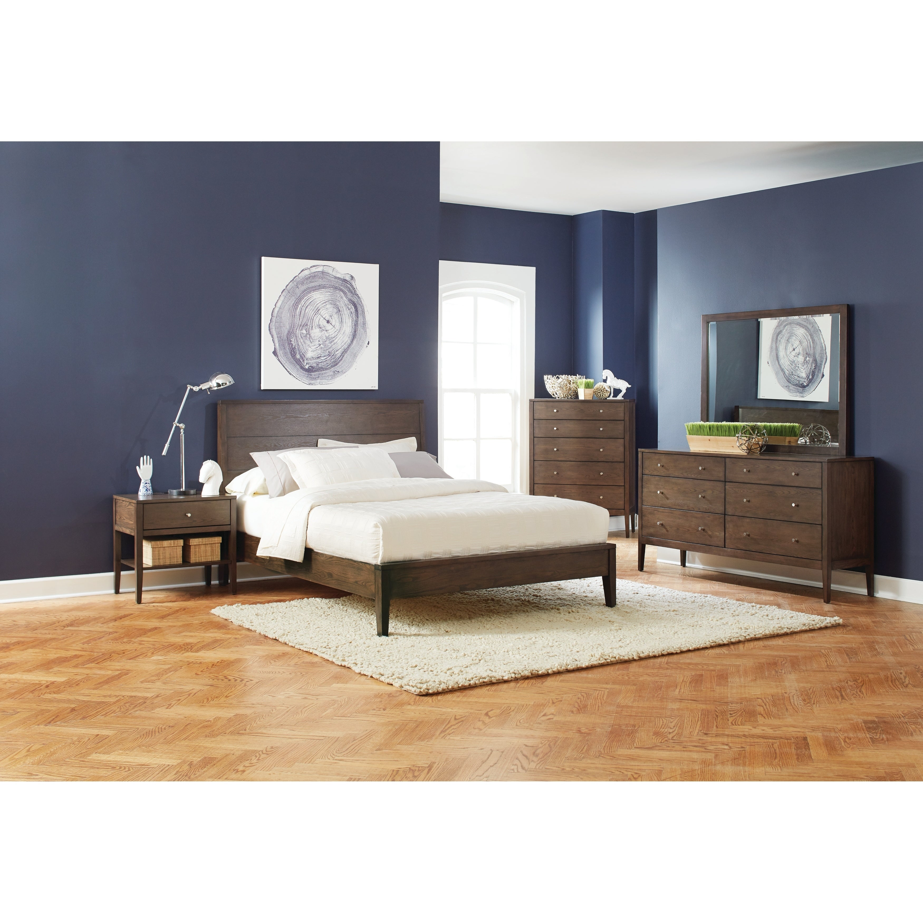 . Carson Carrington Setermoen Mid Century Modern Brown Walnut 4 piece Bedroom  Set