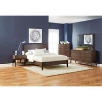 Lompoc Mid-century Modern Brown Walnut 4-piece Bedroom Set