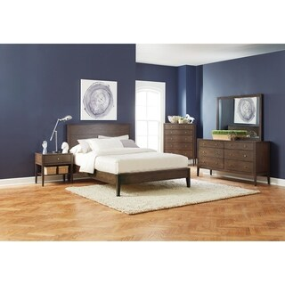 Lompoc Mid-century Modern Brown Walnut 4-piece Bedroom Set (2 options available)
