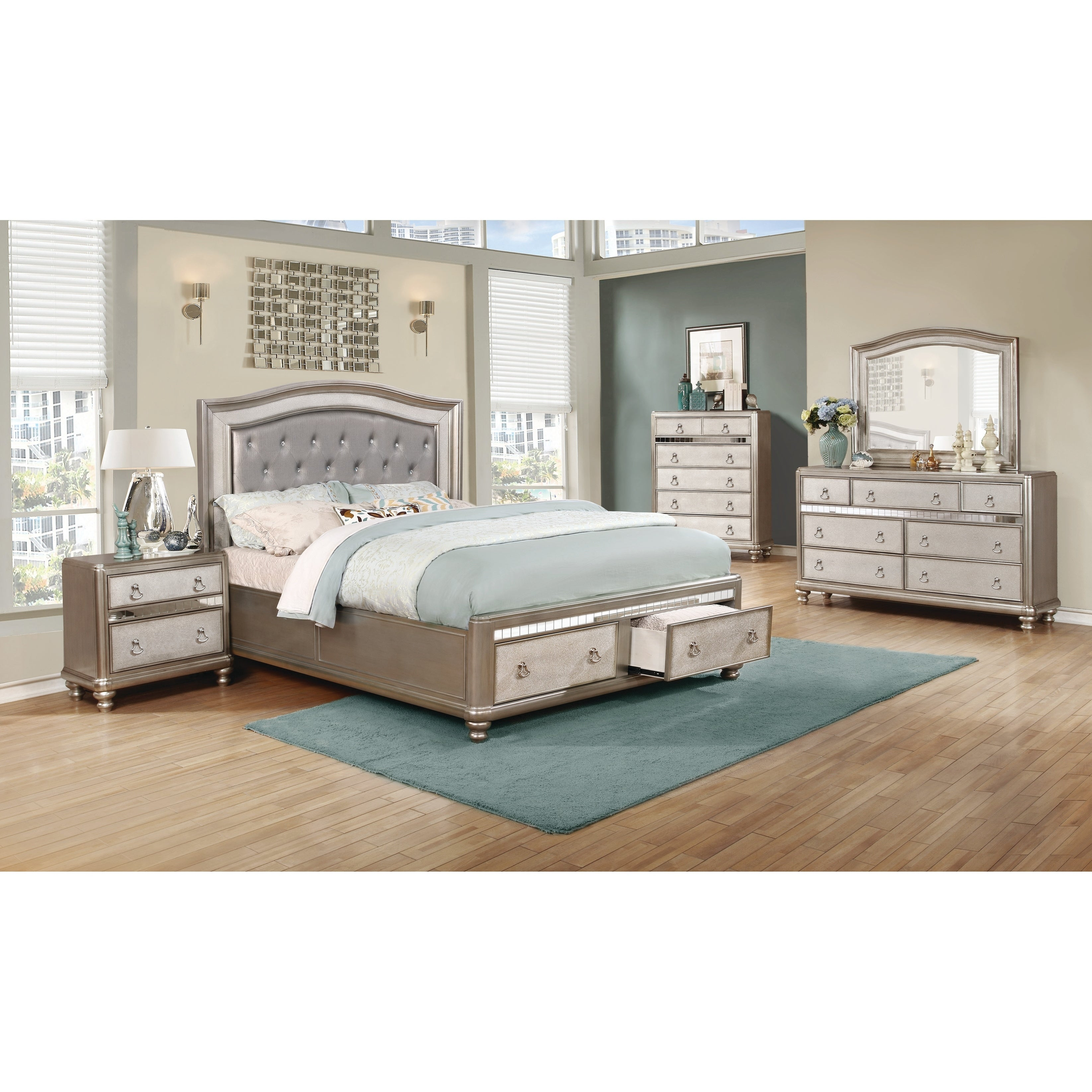 Silver Orchid Arcaro Metallic 4 Piece Bedroom Set With Storage Bed Overstock 23599213