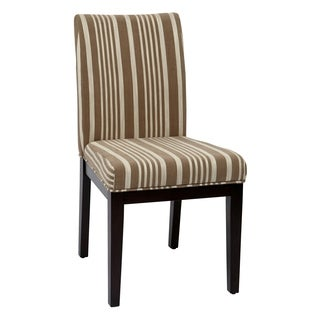 Ave Six Dakota Parsons Armless Dining Chair in Mocha Stripe