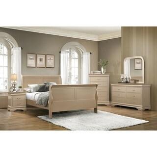 Hershel Louis Philippe Metallic Champagne 4-piece Bedroom Set