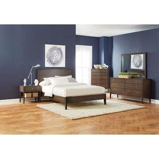 Lompoc Mid-century Modern Brown Walnut 5-piece Bedroom Set (2 options available)