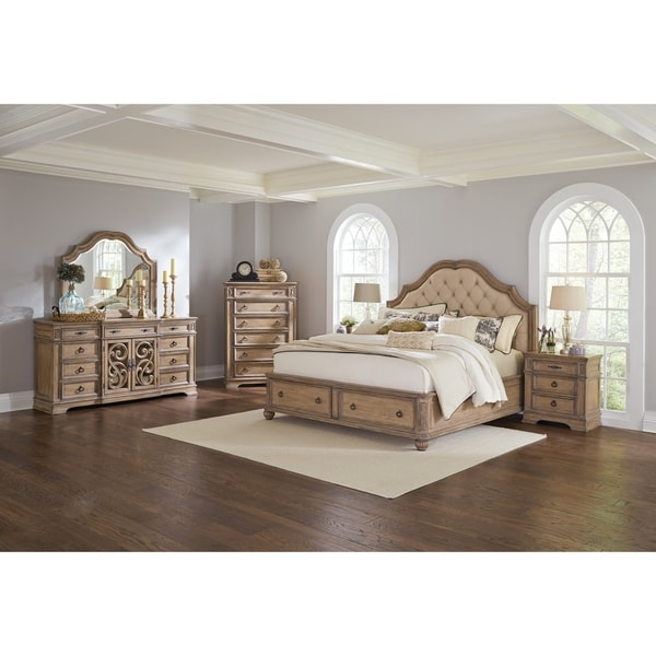 Shop Ilana Traditional Antique Linen 4 Piece Bedroom Set With