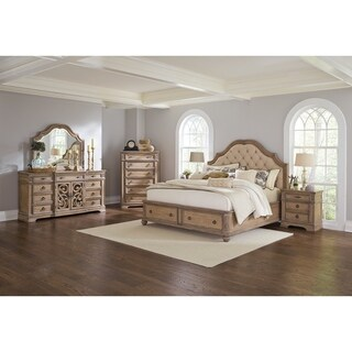 Ilana Traditional Antique Linen 4-piece Bedroom Set with Storage Bed