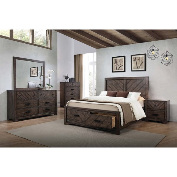 Shop Lawndale Rustic Dark Brown 4-piece Bedroom Set - Free Shipping ...