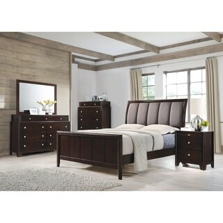 Madison Transitional Dark Merlot and Taupe Grey 5-piece Bedroom Set