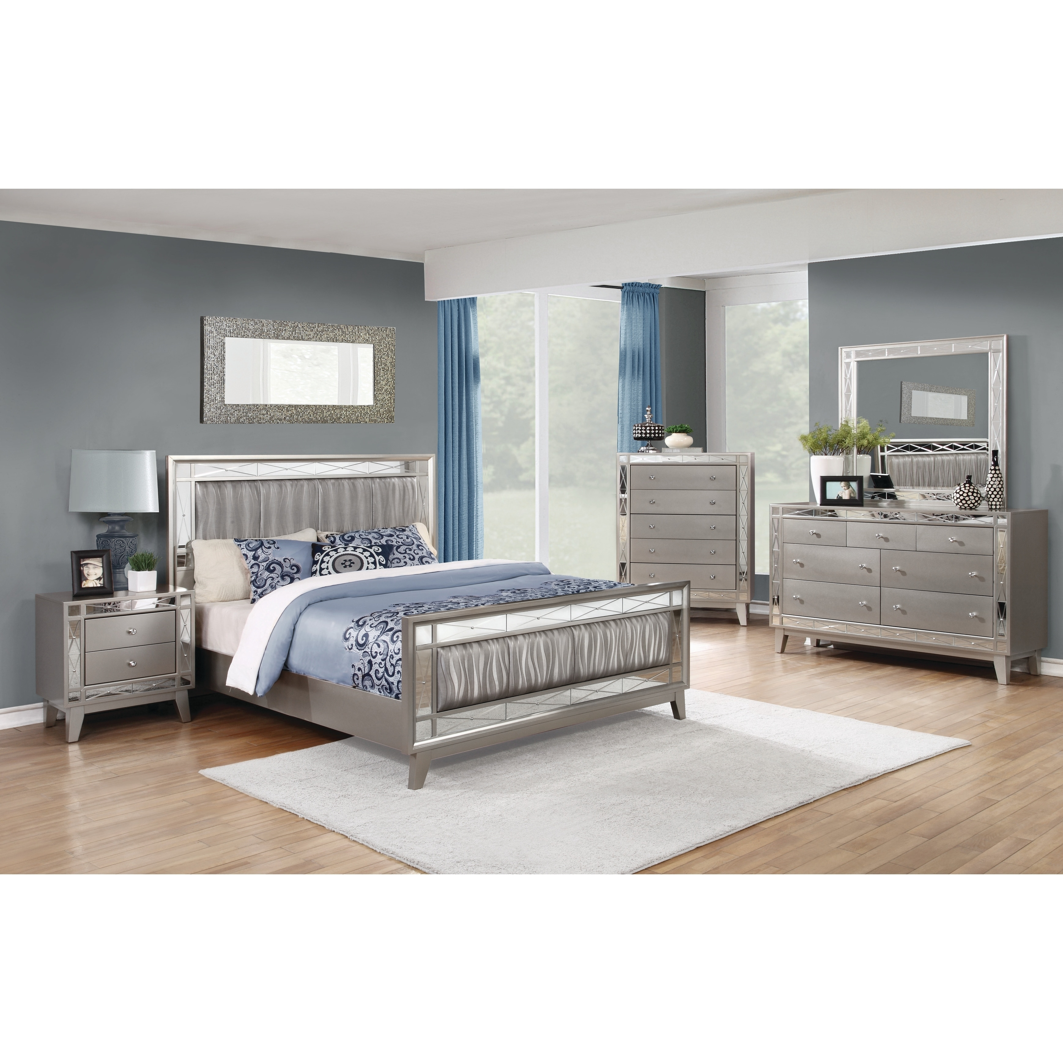 Silver Orchid Barriscale Contemporary Metallic 4-piece Bedroom Set