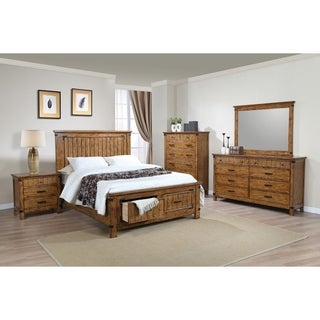 Brenner Rustic Honey 5 Piece Bedroom Set With Storage Bed