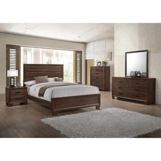 Delightful Brandon Transitional Medium Brown 5 Piece Bedroom Set
