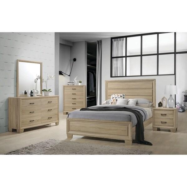 Vernon Transitional Whitewashed Oak 4 Piece Bedroom Set