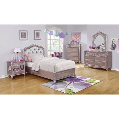 Caroline Metallic Lilac 4-piece Bedroom Set